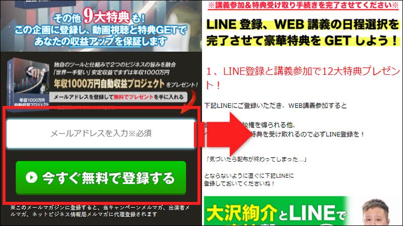 年収1000万円自動収益プロジェクトへメール登録